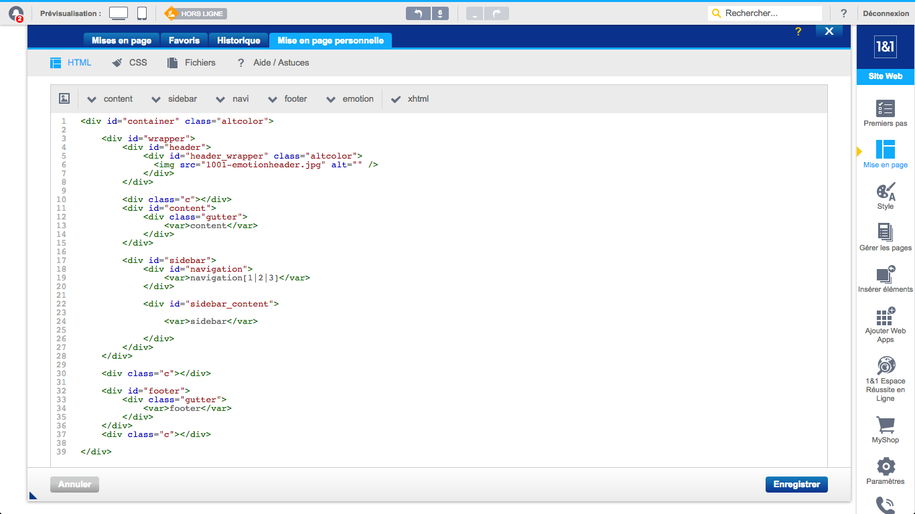 1&1 HTML-Editor