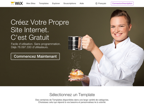 Wix Page d'accueil