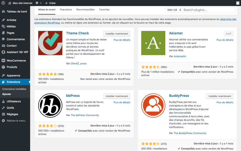 Wordpress - Les extensions