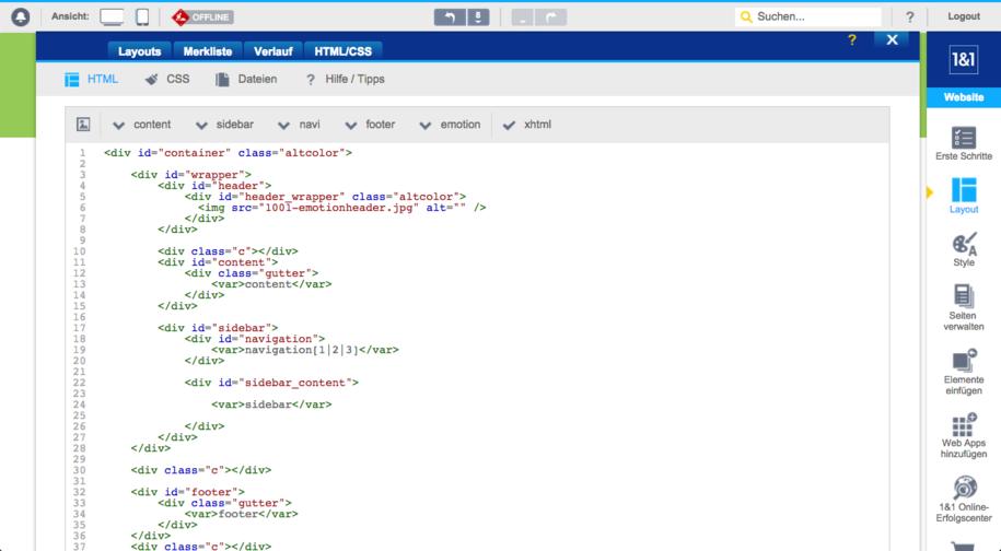1und1 HTML-Editor