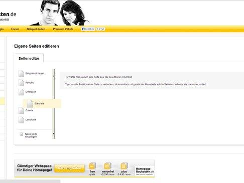 Homepage-Baukasten.de Seite editieren Seitenstruktur