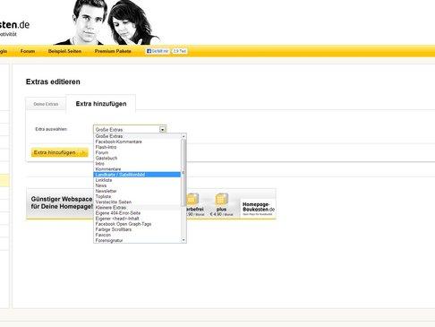 Homepage-Baukasten.de Extras hinzufügen