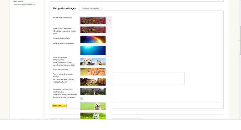 Homepage-Baukasten.de - Designvorlagen können nur marginal geändert werden