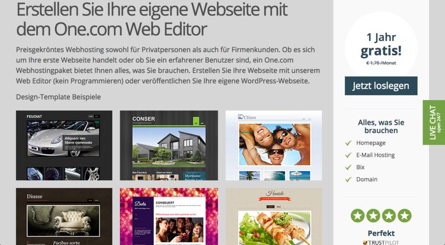One.com Startseite
